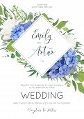 Wedding Floral Invite, Invitation Card Design With Elegant Bouquet Of Blue Hydrangea Flowers, White  poster