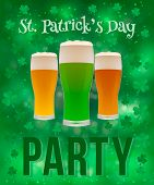 St. Patricks Day Party Banner With Clover Shamrock And Beer Glasses On A Bright Green Background. T poster