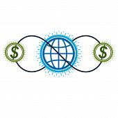 Global Business And E-business Creative Logo, Unique Vector Symbol Created With Different Elements.  poster