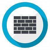 Firewall blue flat design web icon poster