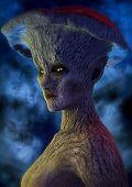Portrait Of Dark Fantasy Mushroom Woman. 3d Illustration. poster