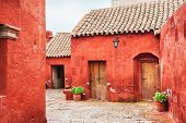 Red Walls In Santa Catalina Monastery In Arequipa, Peru poster