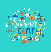 Summer Camp Concept With Handdrawn Lettering, Camping And Travelling On Holiday With A Lot Of Campin poster