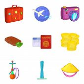 Worldwide Journey Icons Set. Cartoon Set Of 9 Worldwide Journey Vector Icons For Web Isolated On Whi poster