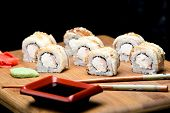 Dragon Sushi Roll With Eel And Cream Cheese. Japanese Food Made At Home. Easy Way To Make Sushi Roll poster