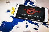 Smartphone With Geo-blocking Over Eu Map. European Union Digital Single Market And Regulation Agains poster
