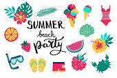 Summer Beach Party Lettering. Set Hand Drawn Icons, Signs And Banners. Bright Summertime Poster. Col poster
