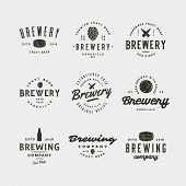 Set Of Vintage Brewery Logos. Retro Styled Brewing Company Emblems, Badges, Design Elements, Logotyp poster