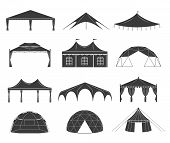 Event Tent Set. Black Fabric Shelter Silhouette, For Party Rentals, Wedding, Outdoor And Summer Even poster