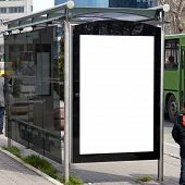 foto of bus-shelter  - An image of a bus stop with a blank bilboard for your advertising situated in the turkish city of Istanbul - JPG