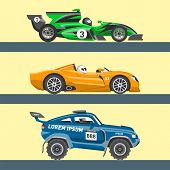 Постер, плакат: Sport Race Car Vector Speed Automobile And Offroad Rally Car Colorful Fast Motor Racing Auto Driver