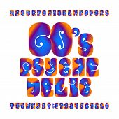 Psychedelic Alphabet Vector Font. Hand Drawn Letters And Numbers In 60s Hippy Style. Stock Vector Ty poster