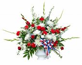 stock photo of condolence  - Colorful flower arrangement in urn isolated on white - JPG