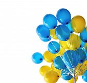 Bunch  Of Blue And Yellow  Balloons In The City Festival Isolated On White Background poster