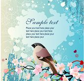 pic of nightingale  - Floral greeting card with bird - JPG