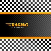 Racing Background With Race Flag, Vector Sport Design Banner Or Poster. poster