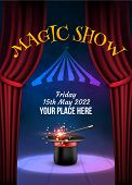 Magic Show Poster Design Template. Illusion Magical Vector Background. Theater Magician Flyer With H poster
