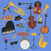 Jazz Musical Vector Instruments Tools Piano And Saxophone Music Sound Illustration Of Jazzband Rock  poster