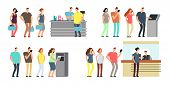 Queues Of People Vector Set. Man And Woman Standing In Line At Atm, Terminal And Bank Vector Cartoon poster