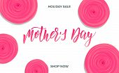 Mothers Day. Holiday Card Layout With Calligraphy Lettering And Trendy Flowers. Mothers Day Script  poster