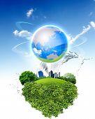 Постер, плакат: Зеленая планета против голубого неба и чистой природы