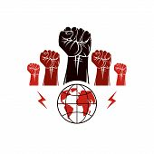 Clenched Fists Of Angry People Vector Emblem Composed With Earth Globe Symbol. Civil War Abstract Il poster