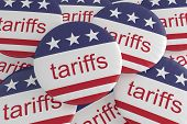 Usa Politics News Badges: Pile Of Tariffs Buttons With Us Flag, 3d Illustration poster
