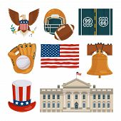 Usa Landmarks And Other Different Cultural Objects. Usa Culture American, Famous Architecture Buildi poster