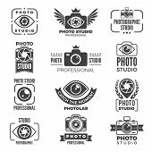 Retro Pictures And Logos For Photo Studios. Monochrome Vector Logotypes. Photography Studio And Phot poster