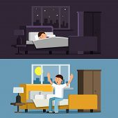 Illustrations Of Relaxed People. Sleeping Man In Bed In The Night. Male In The Morning. Man Relax Sl poster