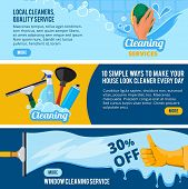 Banners Set With Concept Illustrations Of Cleaning Service Theme. Housework Cleaner Service, Sponge  poster