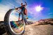 Extreme Sports.mountain Bicycle And Man.life Style Outdoor Extreme Sport poster