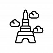 Eiffel Tower Vector Icon On White Background. Eiffel Tower Modern Icon For Graphic And Web Design. E poster