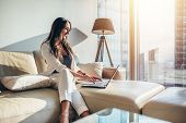 Elegant Young Female Business Woman Using A Laptop Sitting On A Sofa At Home. poster