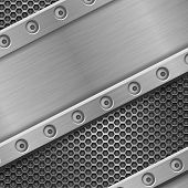 Metal Background With Rivets And Perforation. Vector 3d Illustration poster
