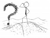 Cartoon Stick Man Drawing Conceptual Illustration Of Confused Businessman Watching The Confused And  poster