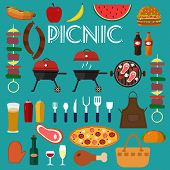 Barbecue Grill Set Food Vector Illustration. Summer Barbecue Party Flat Icons Collection With Grille poster