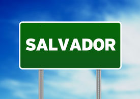 stock photo of road sign  - Green Salvador Bahia Brazil highway sign on Cloud Background - JPG
