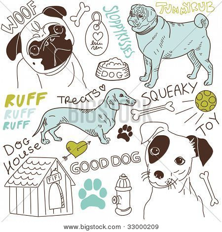 I love Dogs! vector doodles set