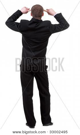 Rear view people collection. Back view of thinking business man. gesticulating adult businessman in black suit .  backside view of person.  Isolated over white background.
