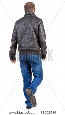 Back view of going  handsome man in jacket and jeans.  walking young guy in jeans and  jacket. Rear view people collection.  backside view of person.  Isolated over white background.