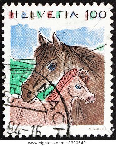 Postage stamp Switzerland 1993 Horses, Equus Ferus Caballus, Ani