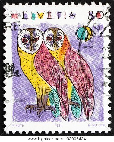 Postage stamp Switzerland 1991 Common Barn Owls, Tyto Alba, Anim