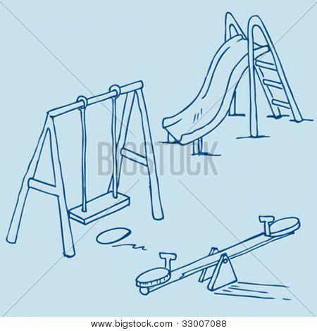 Hand drawn ilustración de objetos patio aislado sobre fondo azul