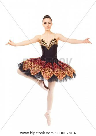 Beautiful female ballerina practicing in tip toe position on white background