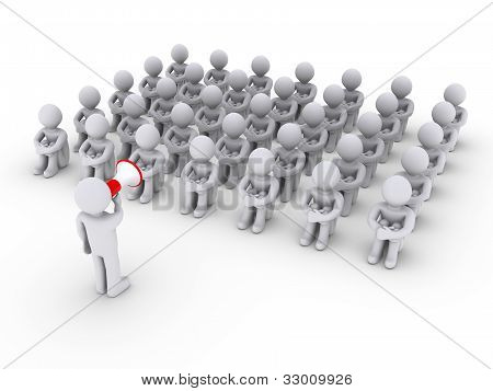 Person With Megaphone Talking To Others Sitting Down