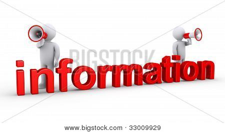 Dois homens com megafones para informações