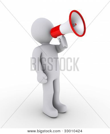 Person Shouting Through Megaphone