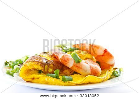 Omelet With Cooked Shrimp And Greens