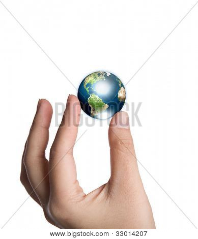 Earth in hand isolated on white background  (Elements of this image furnished by NASA)
